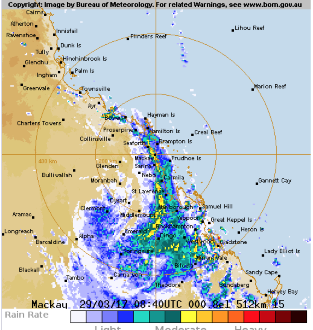 The Mackay radar depicts the