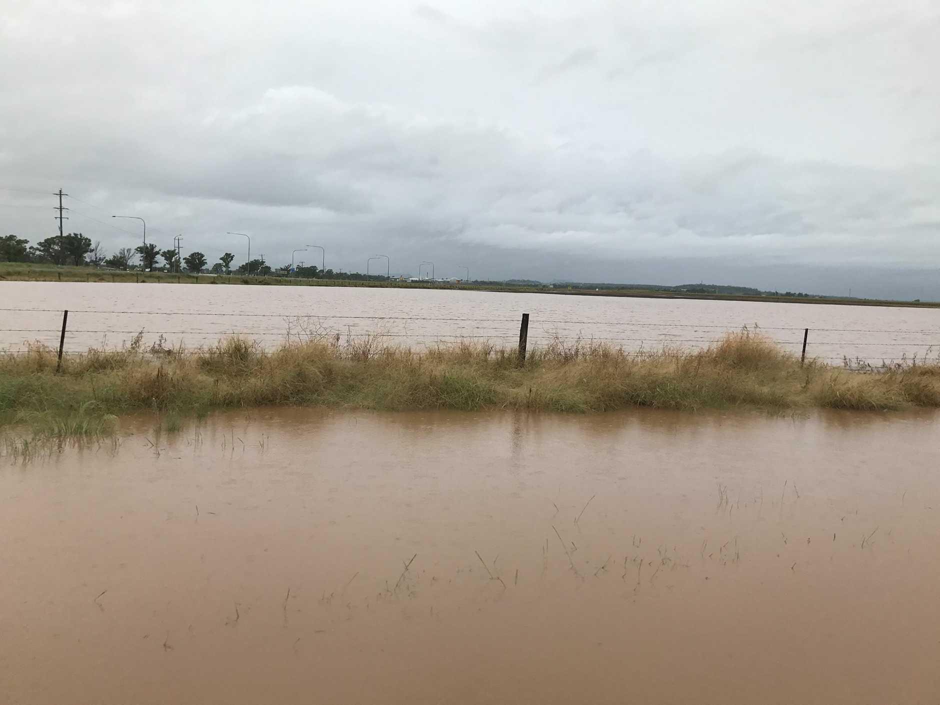 A flooded paddock near the Oakey power station. Photo Cassandra Salkeld