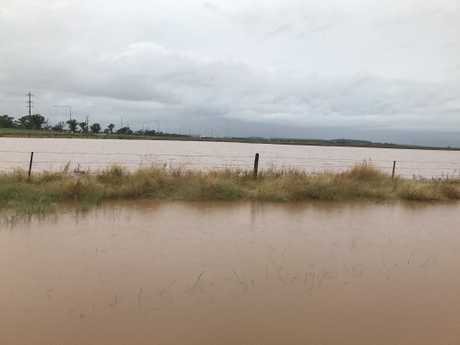 A flooded paddock near the Oakey power station. Photo Cassandra Salkeld
