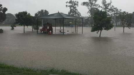 Flooding at Stones Corner in Brisbane. Picture: Darren England