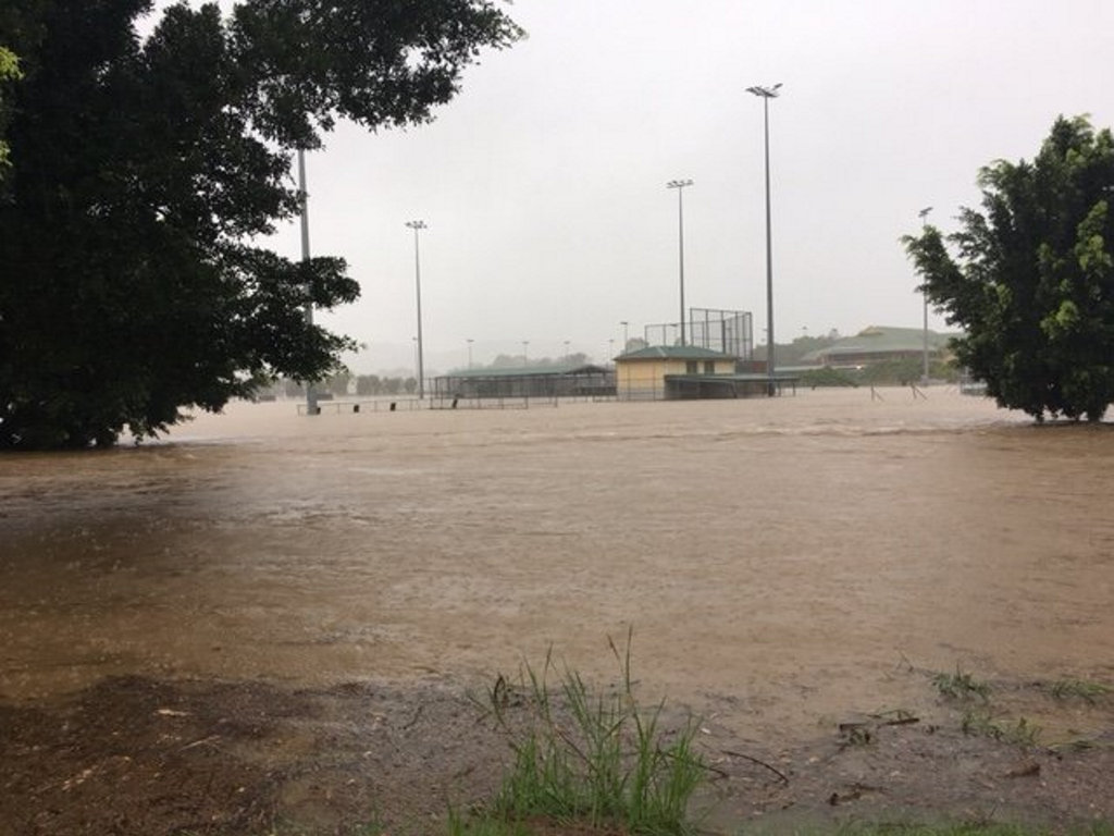 Football and soccer field inundated in south-east Queensland