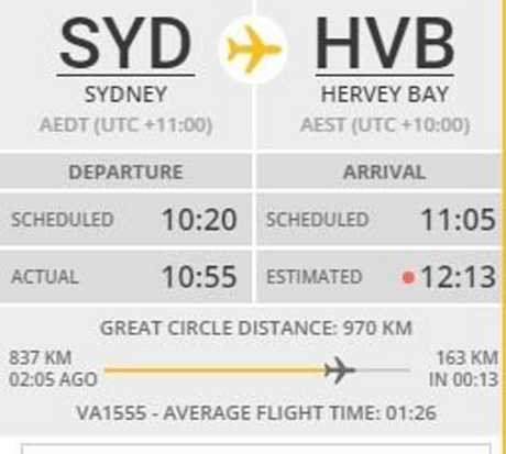 DELAYED: Virgin flight VOZ1555 delayed by more than an hour.