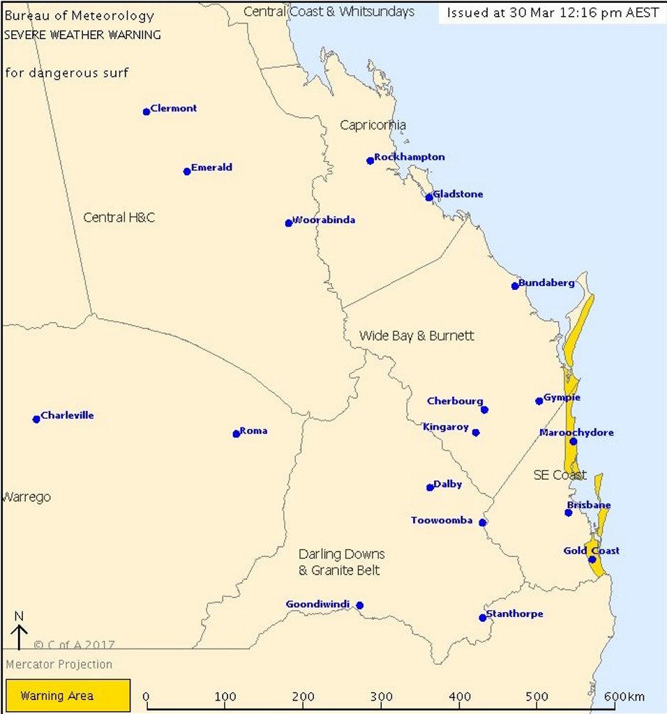 The current alert area for dangerous surf in Queensland.