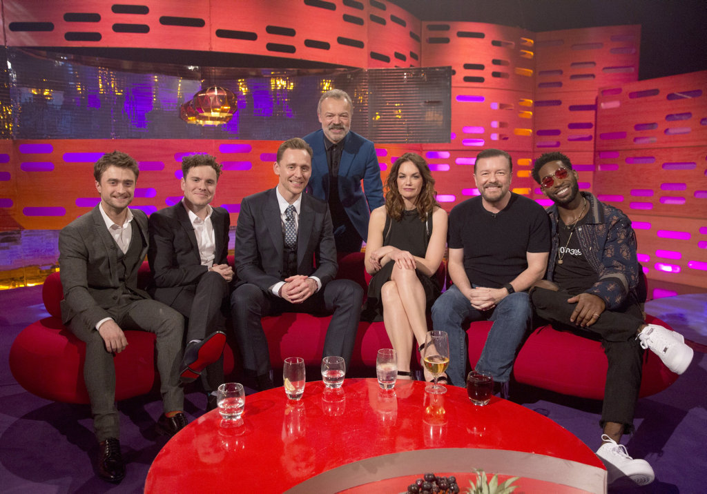 Talk show host Graham Norton (back row) with this week's guests, from left, Daniel Radcliffe, Joshua McGuire, Tom Hiddleston, Ruth Wilson, Ricky Gervais and Tinie Tempah.