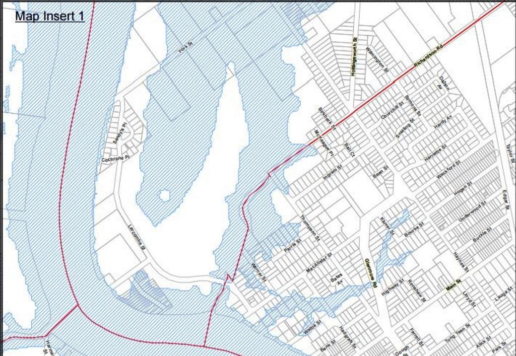 Flood map of Park Avenue and Kawana.