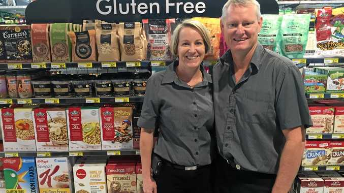 EASY SHOP: Leanne and Brett Bugg provide customers at Tweed Valley IGA the chance to find gluten free options while they shop.