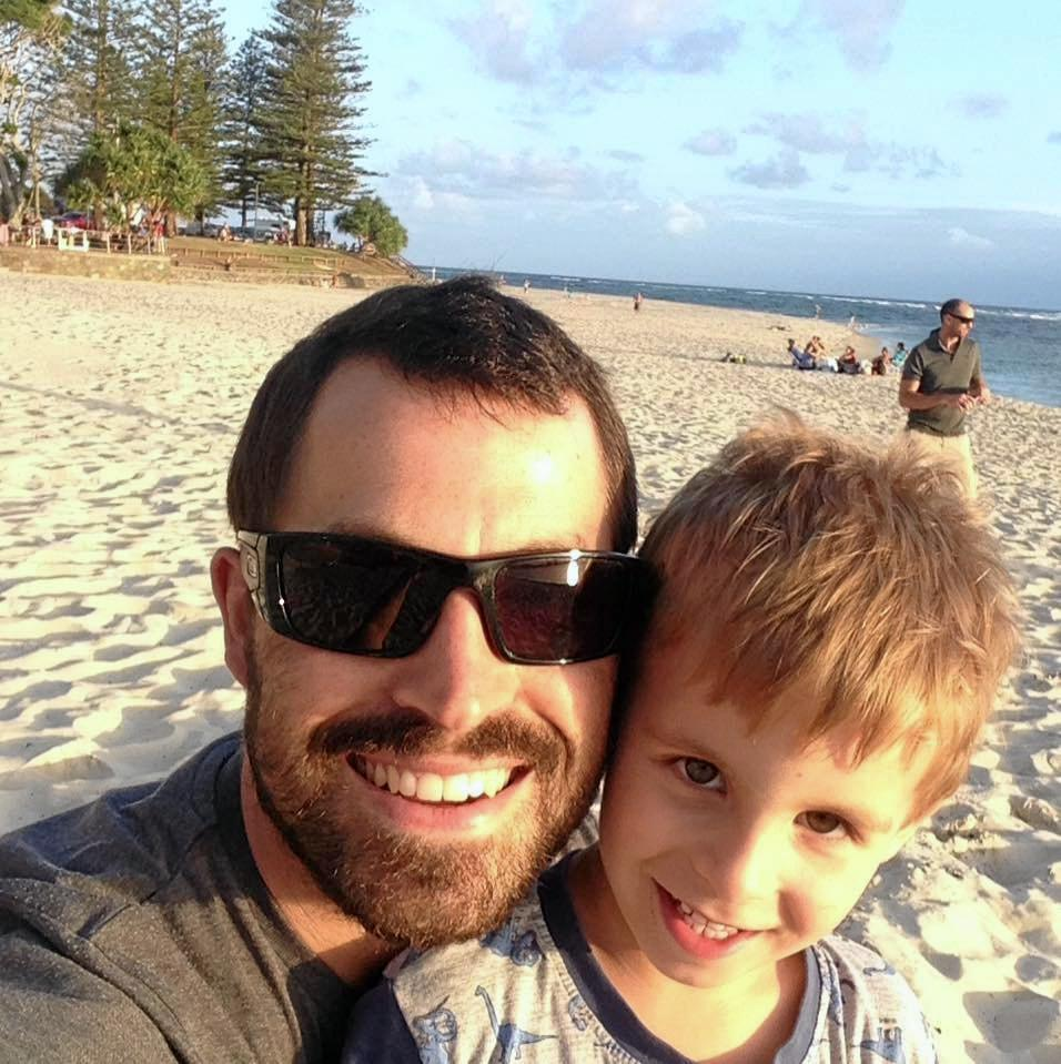 Nathan Beesley with his son, Freddy, enjoying the Australian lifestyle.