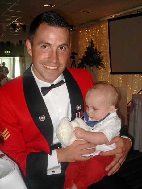 Nathan Beesley with his son.