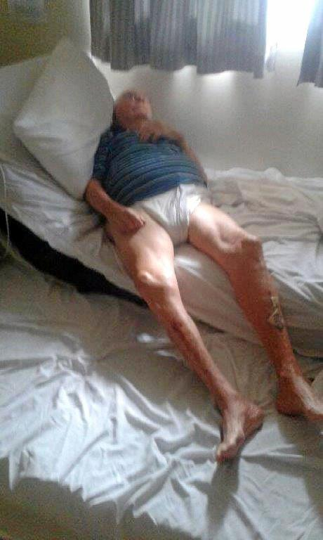 TRICARE: Toby Hewerdine in bed at Tricare. His relatives say more nurses are needed in aged care to make sure the elderly are looked after properly.