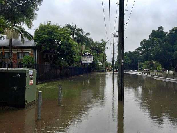 SEVERE WEATHER: A picture taken outside Mullumbimby High School during the last severe weather event on March 15. The school is closing today (Thursday) and will remain closed tomorrow Friday March 31.