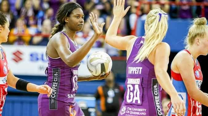 Romelda Aiken (left) and Gretel Tippett of the Firebirds.
