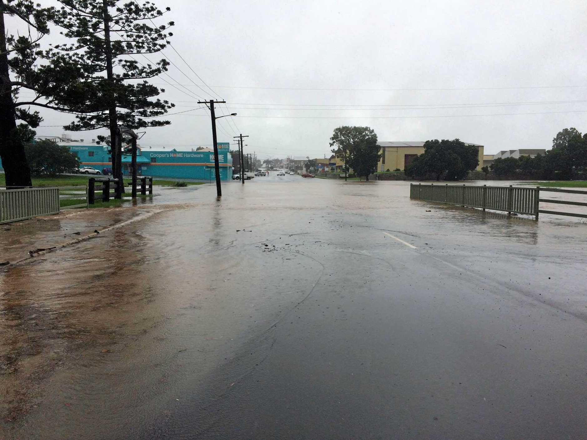 Targo St is closed. The drain at the intersection of George and Targo, the lowest point in Bundaberg city, has overflowed.