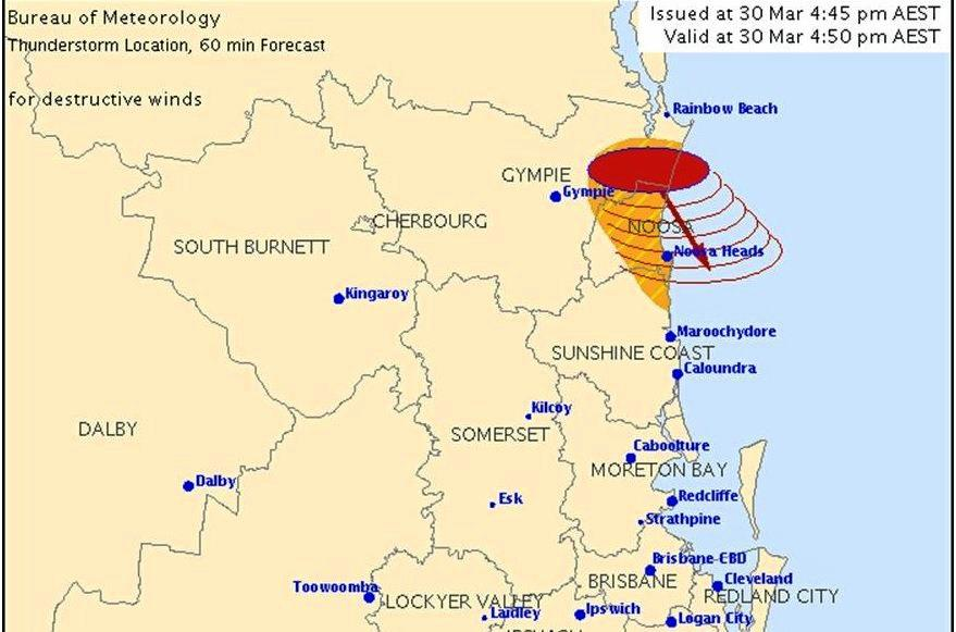 A severe storm is headed towards the Gympie region.
