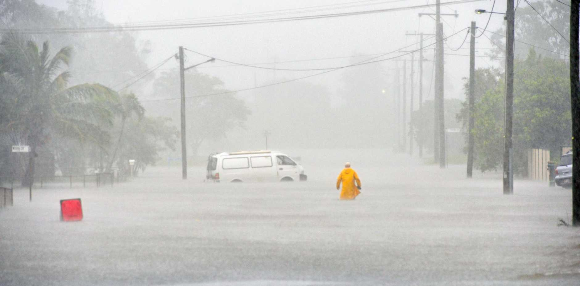 Wood Street, Barney Point was flooded yesterday.