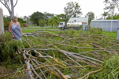 AFTERMATH A storm generated by X Tropical Cyclone Debbie has lashed the Gladstone Region. Lisa Toombs from Bororen says this tree was inches from her house.