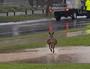 Kangaroo finds flooding no trouble.