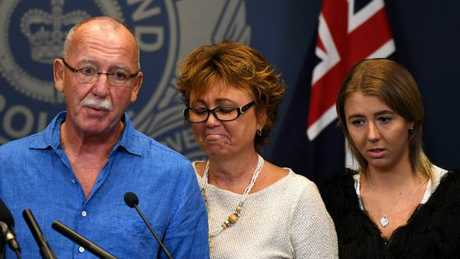 The family of Samuel Thompson appeal to the public for information in Brisbane on Wednesday, March 22.