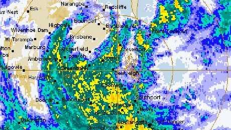 The eye of ex Tropical Cyclone Debbie travels over Brisbane.