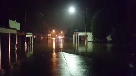 Killaryney's main street under water last night.