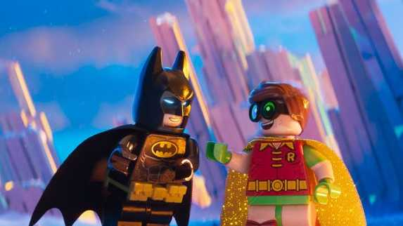 The characters Batman and Robin in a scene from The LEGO Batman Movie.