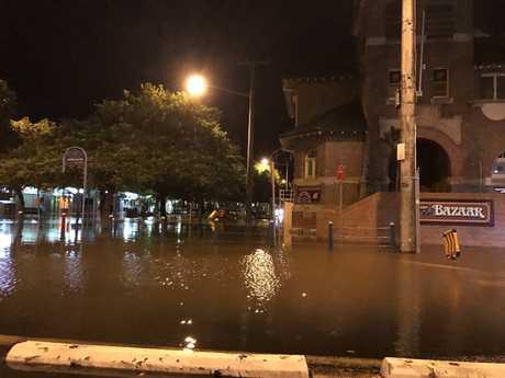 Corner of Magellan and Molesworth Streets, Lismore after the levee broke.