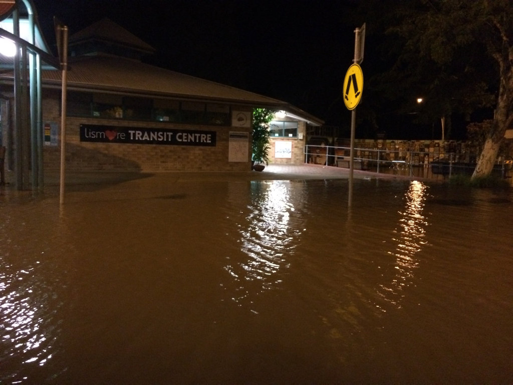 The transit centre in Lismore after the levee broke.