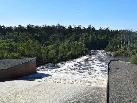 OVERFLOW: Hundreds of mega litres of water is running out of Lenthalls Dam.