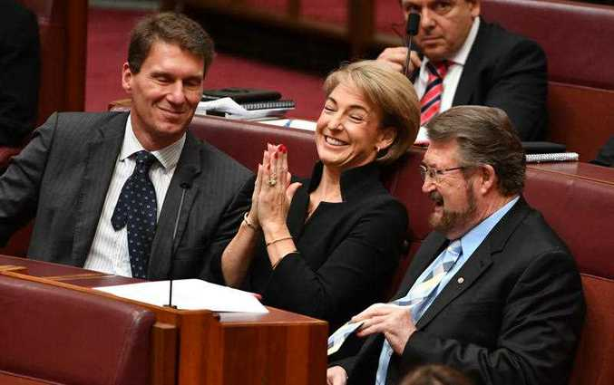 (L-R) Australian Conservatives Senator Cory Bernardi, Minister for Employment Michaelia Cash and Justice Party Senator Derryn Hinch during a division for an amendment to part 18C of the Racial Discrimination Act in the Senate chamber at Parliament House in Canberra, Thursday, March 23, 2017.