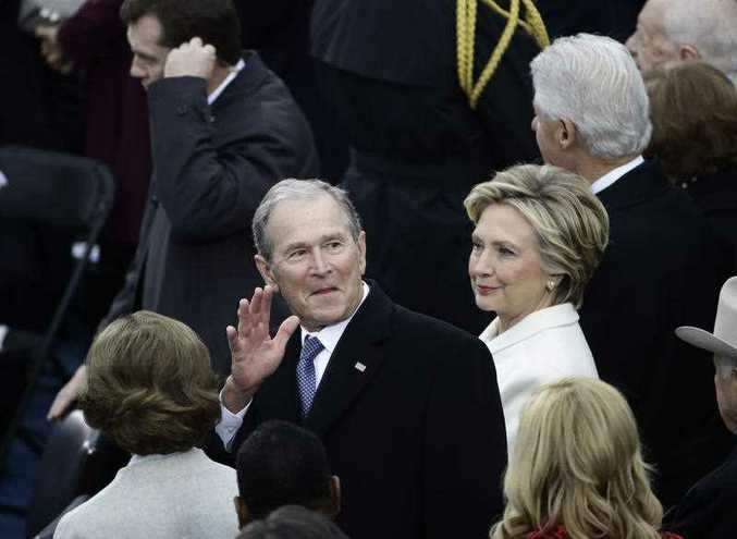 Former President George W. Bush, left, his wife Laura, Former Secretary of State Hillary Clinton and Former President Bill Clinton wait for the 58th Presidential Inauguration for President-elect Donald Trump at the U.S. Capitol in Washington, Friday, Jan. 20, 2017.
