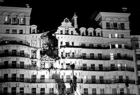 The damaged Grand Hotel in Brighton after the attempted assassination of Margaret Thatcher by the IRA.