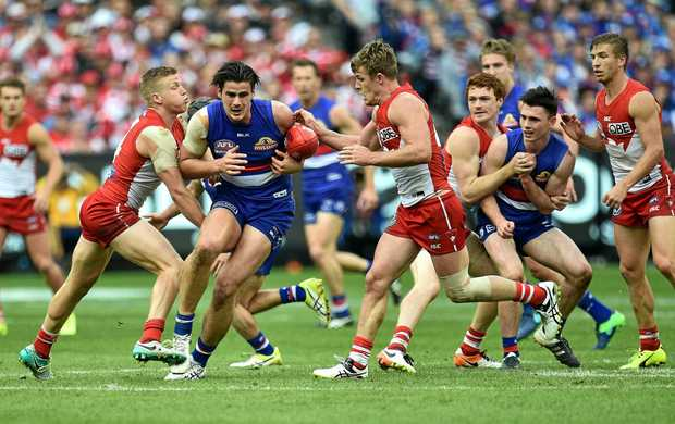 Action during the 2016 AFL Grand Final between the Sydney Swans and the Western Bulldogs at the MCG