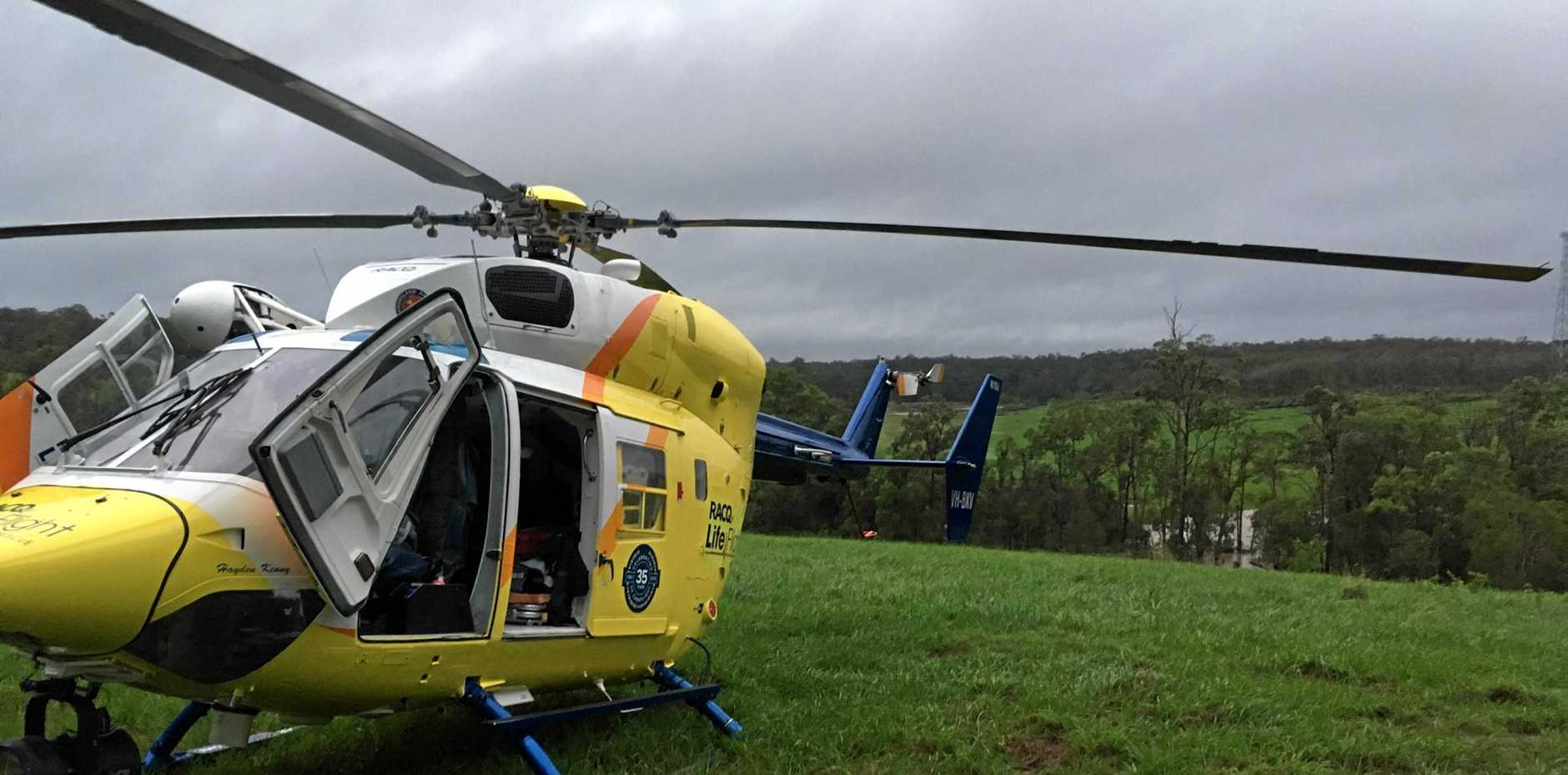 RACQ LifeFlight Rescue crew were called to transport a woman north of Gympie to Bundaberg Hospital with a suspected stroke.