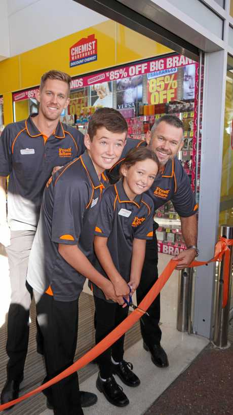 (left to right) Ben, Harry, Lucy and Grant Prince cut the ribbon to officially open Maryborough Fresh & Save Food Warehouse.