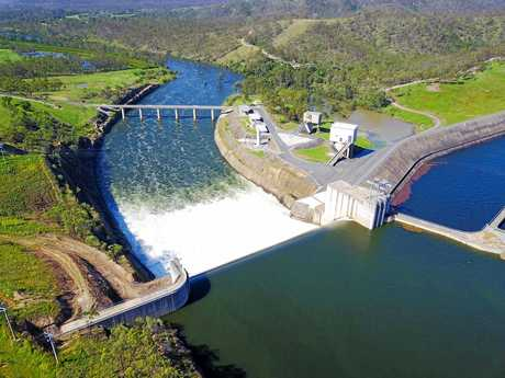 FLOWING: An aerial shot of Awoonga Dam as it spilt over into the upper reaches of the Boyne River on Friday, March 31.