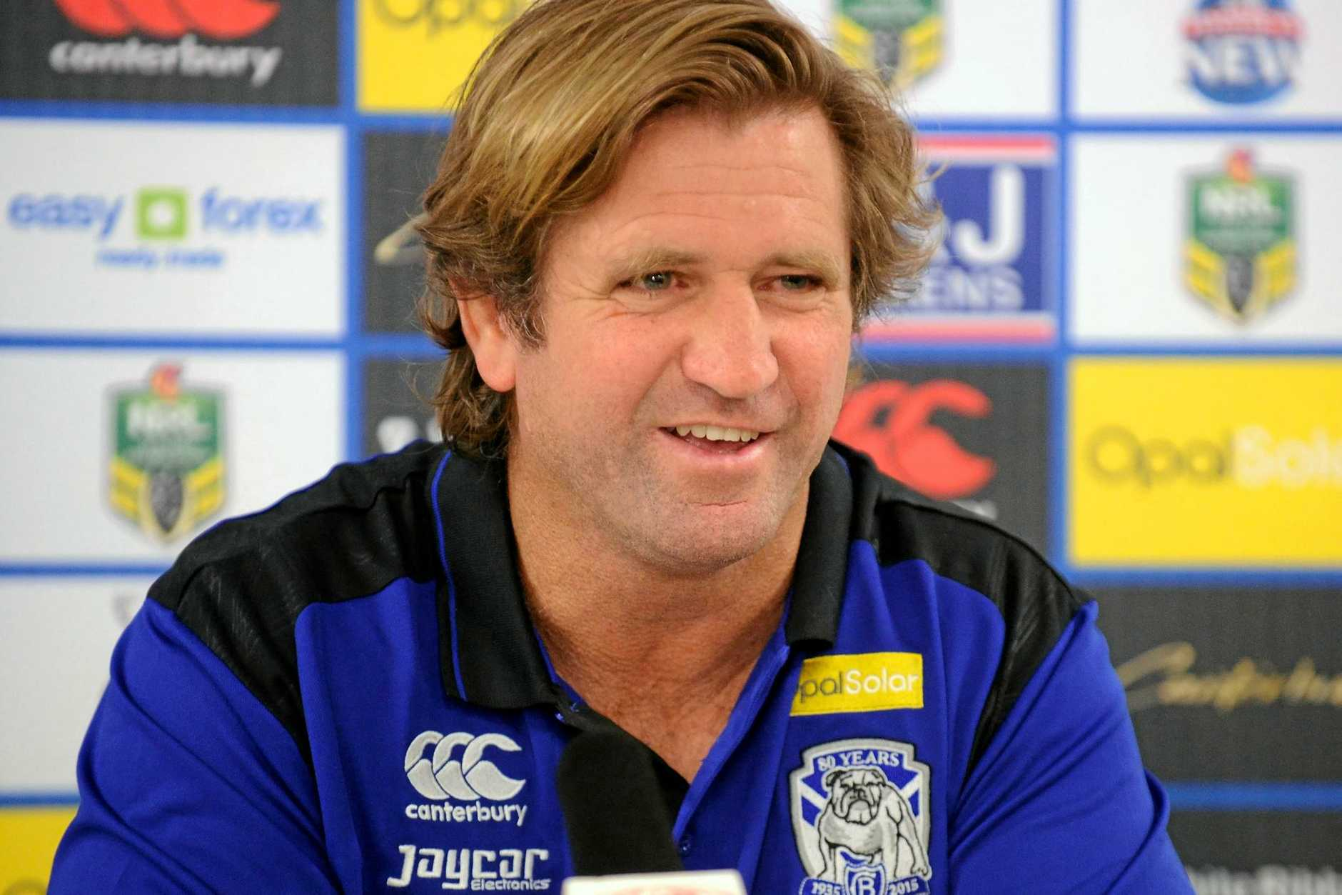 Bulldogs coach Des Hasler speaks to the media.