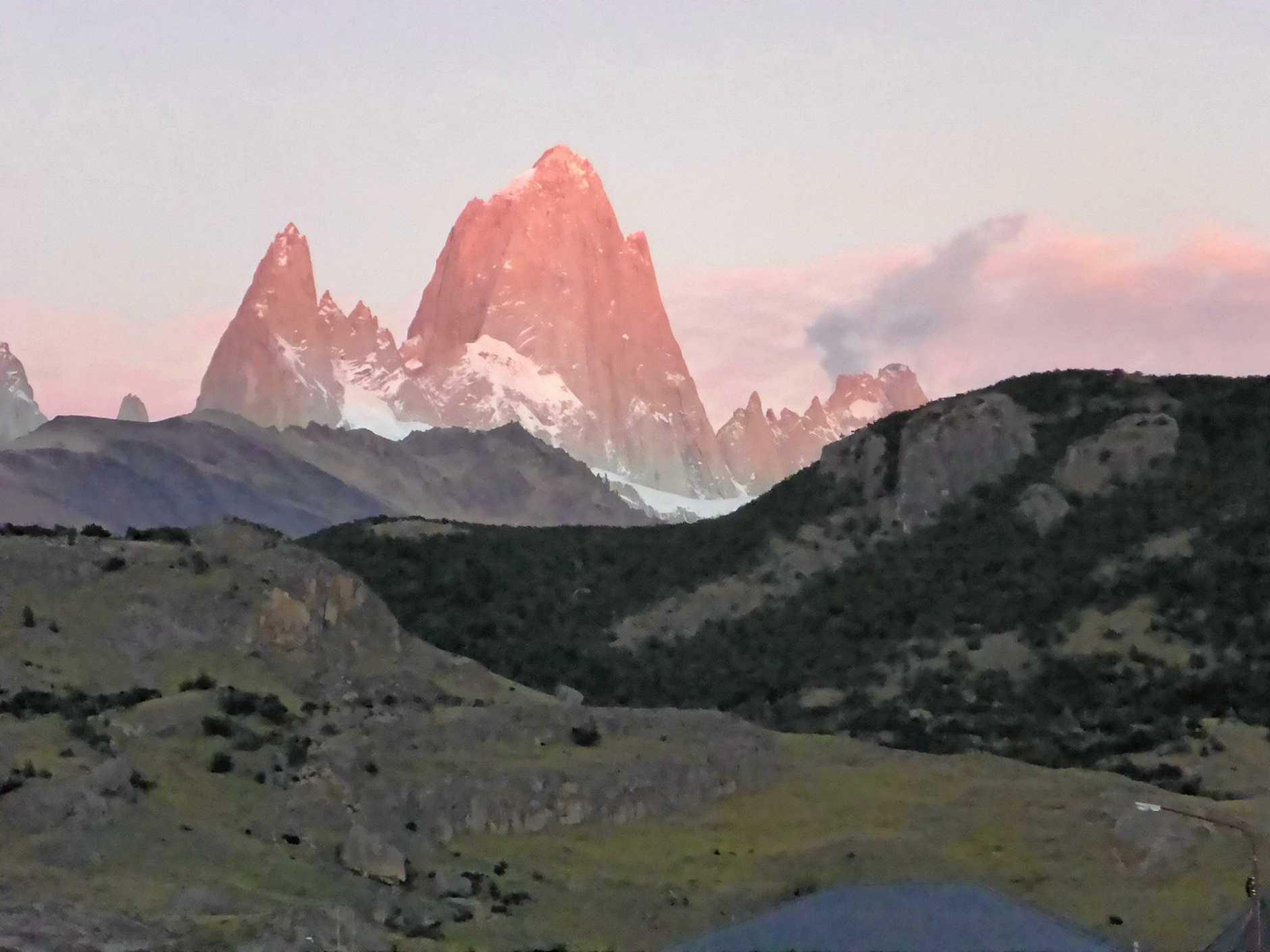 View from El Chalten village before their first 24km trek through the foothills.