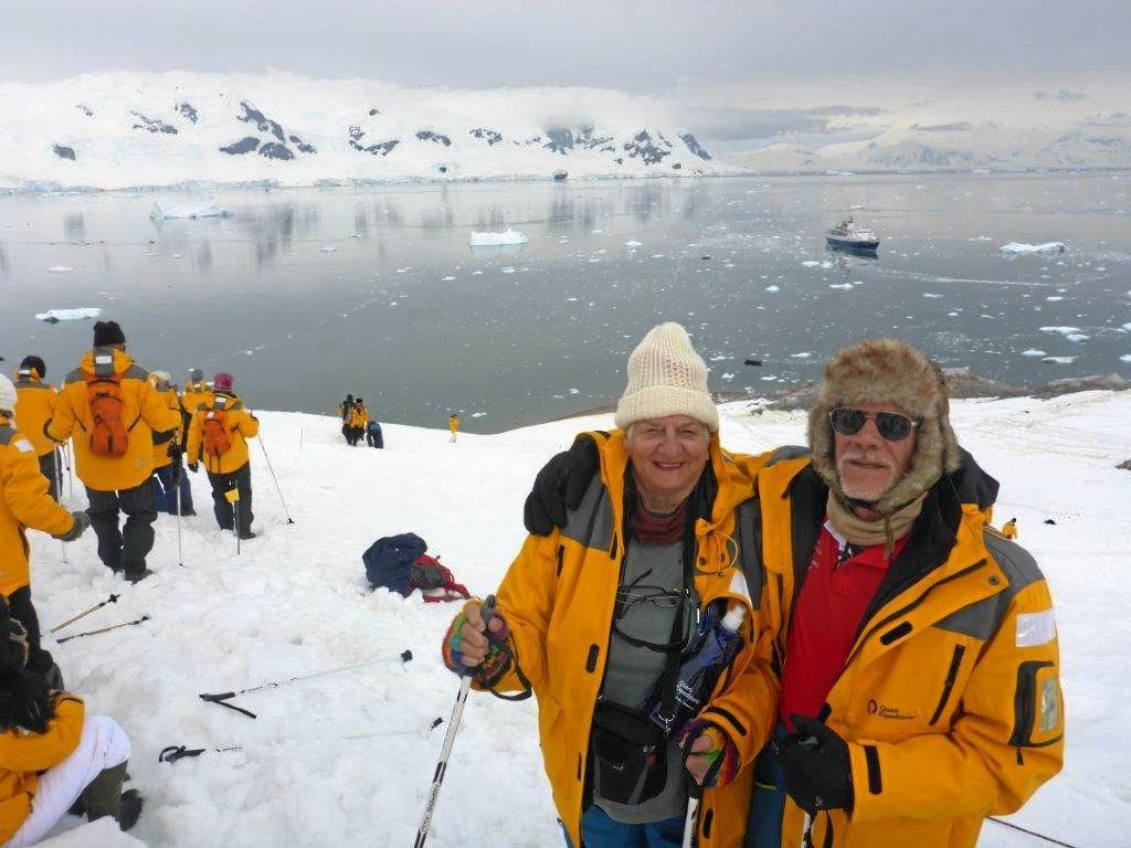 TRAVEL BUG: Robin and Barbara Yule reaching the heights at Argentina Brown Station on Sanaviron Peninsular.