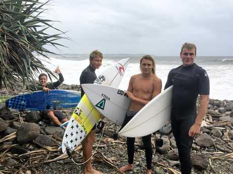 Lennox Head/Ballina (Le Ba) surfers James Woods, Zak Condon, Mikey McDonagh, Blake Ghanimeh come in from