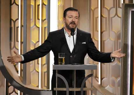 Ricky Gervais hosts the 73rd Annual Golden Globe Awards in 2016.