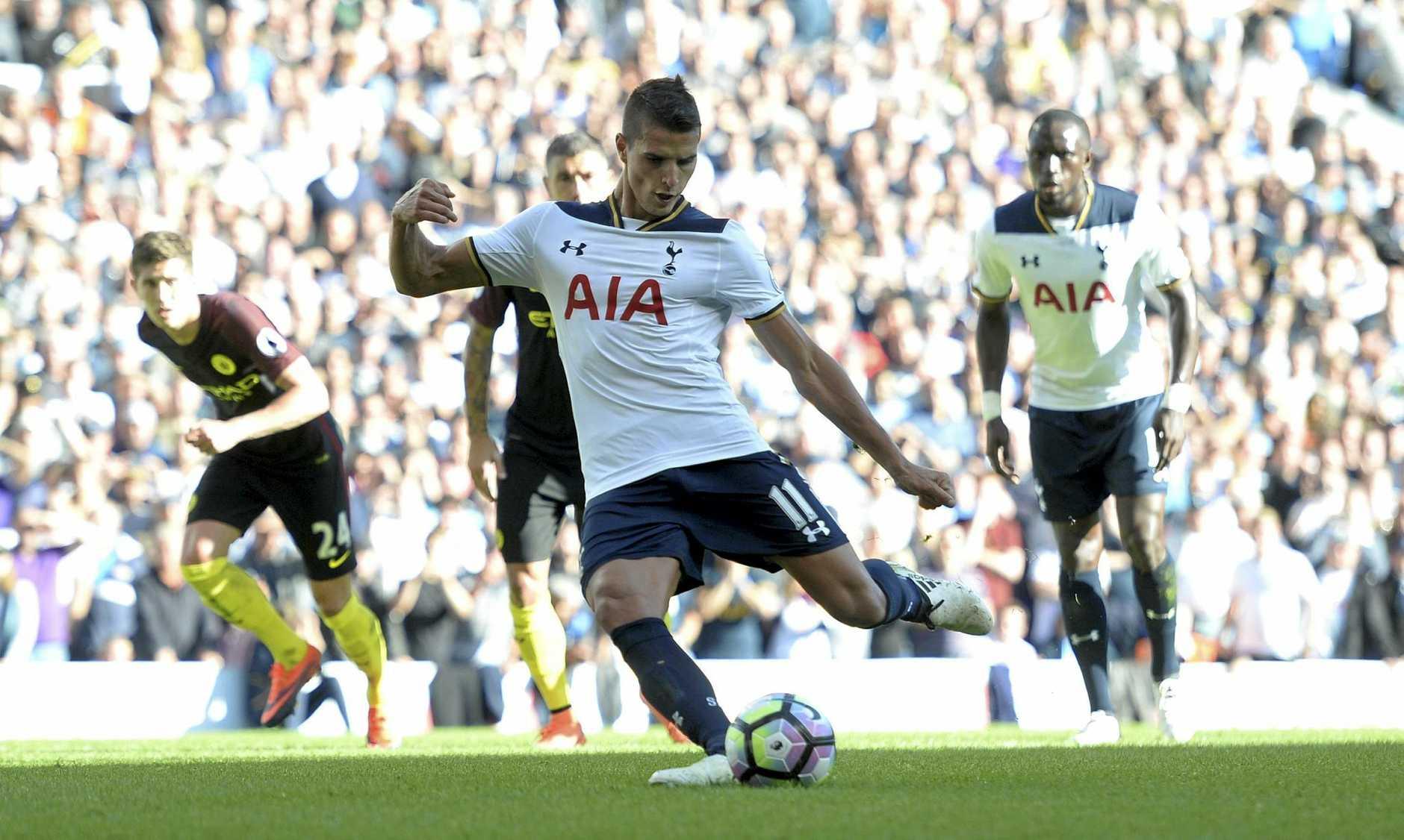 Tottenham's Erik Lamela takes a penalty against Manchester City in October.