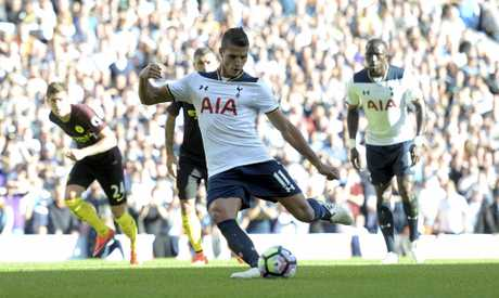 Tottenham's Erik Lamela takes a penalty against Manchester City in October.