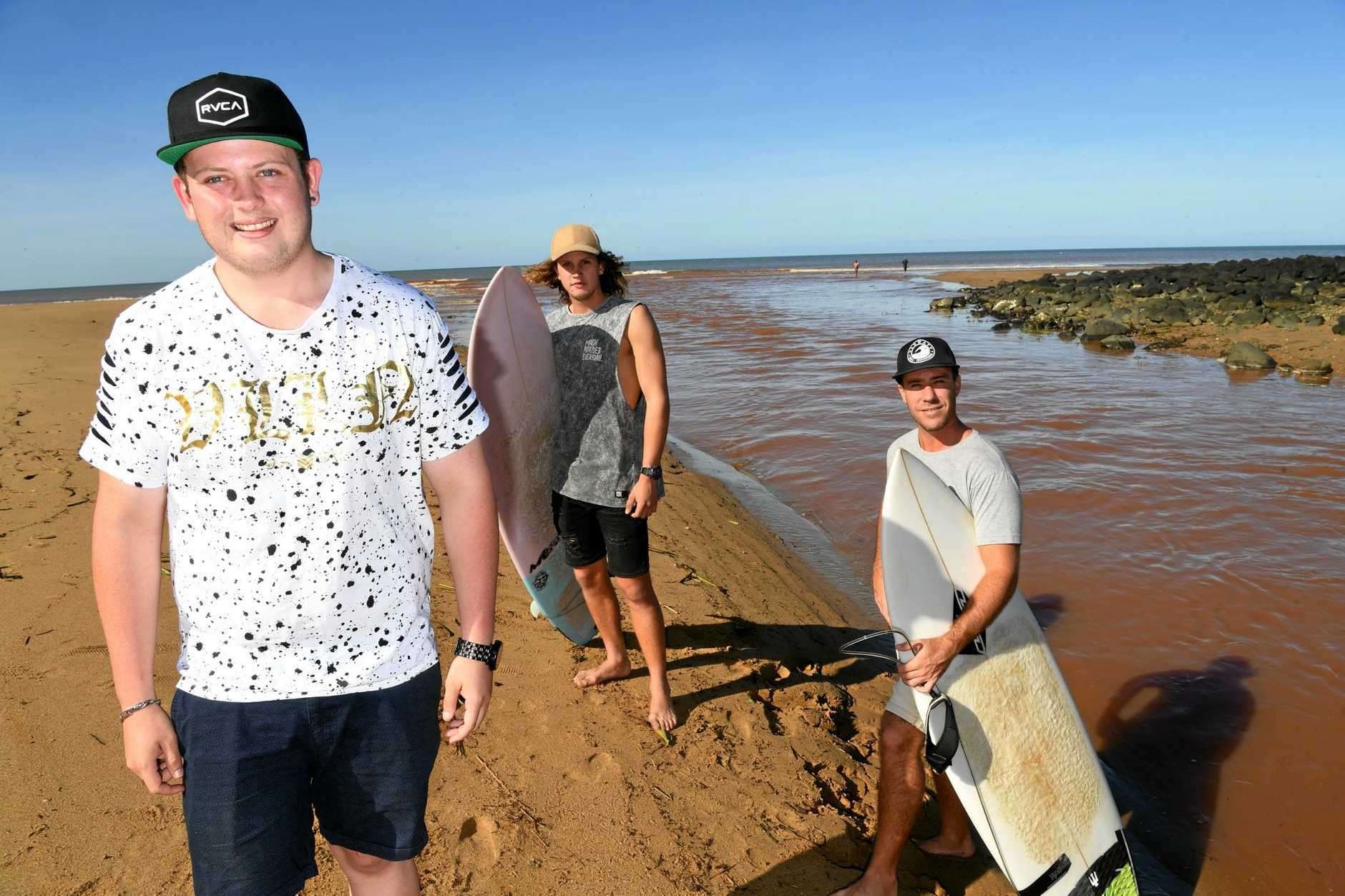 THANKYOU: Hayden Peebles was rescued by Boaz Bragg and Ryan Weekes at Kellys Beach yesterday afternoon.