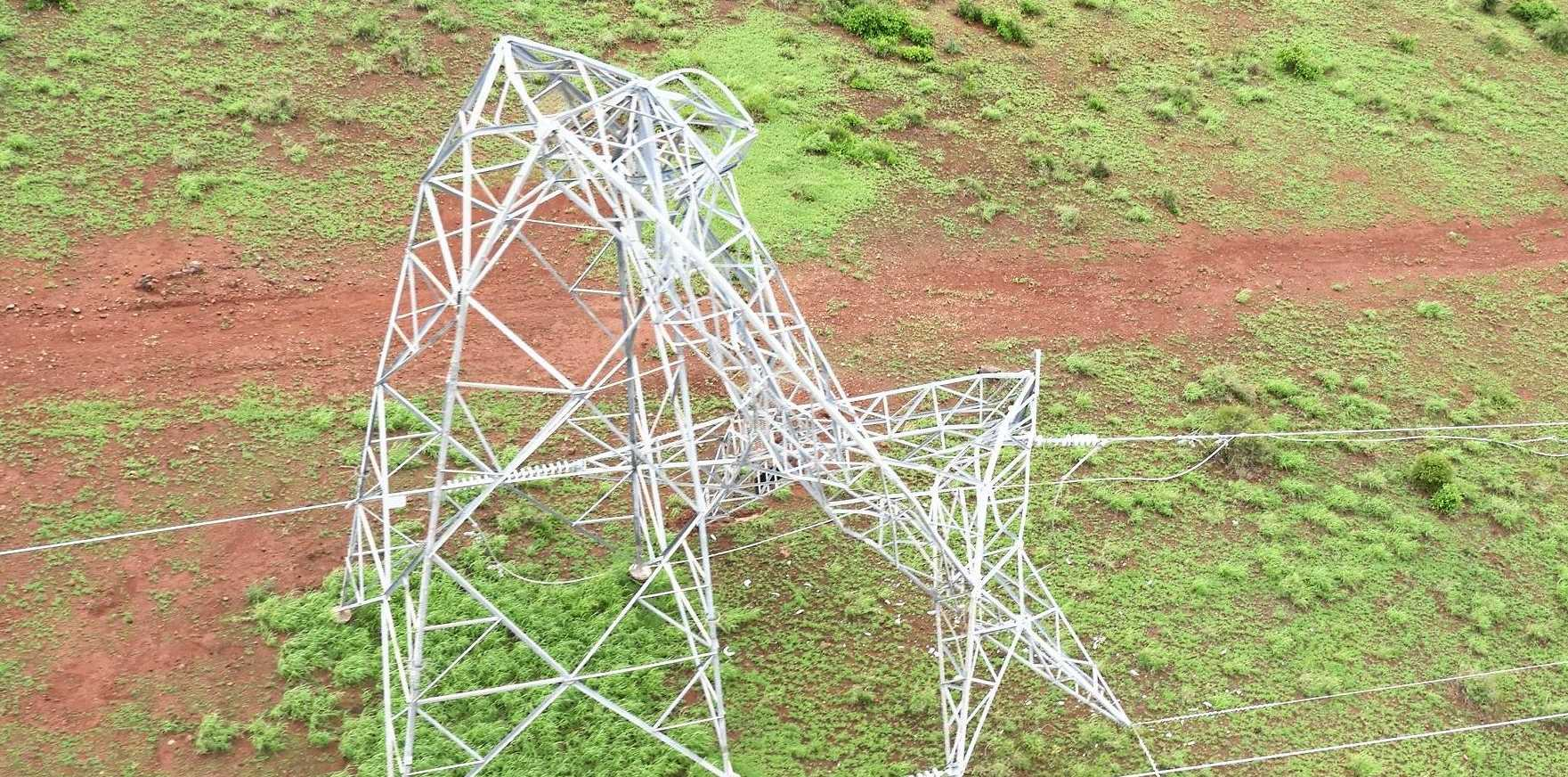 Ten transmission towers in central Queensland have been severely damaged in the recent flooding.