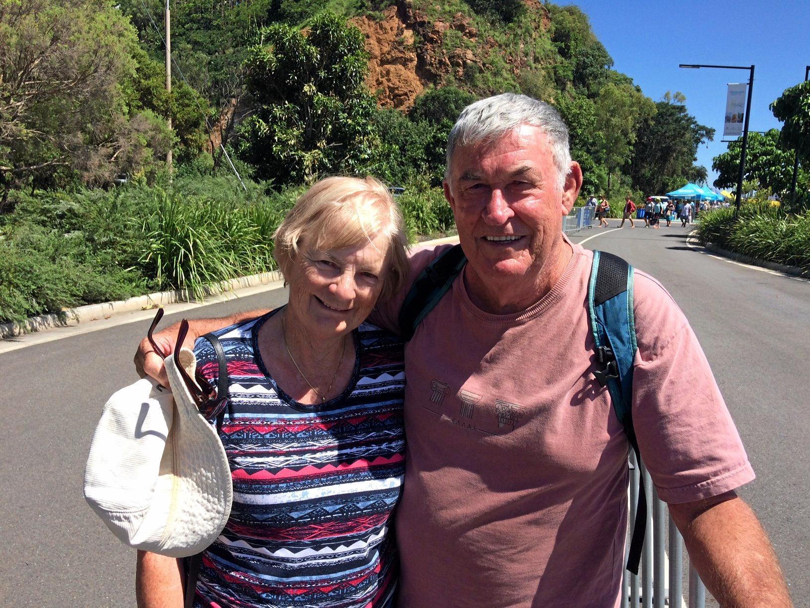 SEASONED TRAVELERS: New Zealand tourists Sandra and Russell Hocking enjoying the Gladstone sunshine.