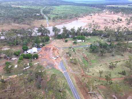 Aerial view of the destruction left by a wall of water which smashed through Lotus Creek, north of Marlborough, after Cyclone Debbie.