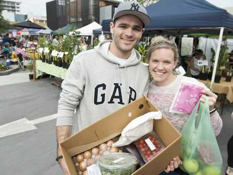 Joseph and Megan Richardson at Toowoomba Farmers Market at new location Walton Stores.