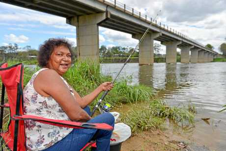 WATCH OUT PAM: Pam Hegarty at the popular fishing spot near the bridge at Benaraby in April.