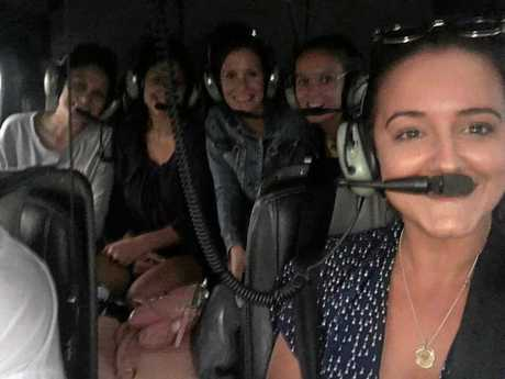 Carissa Fowke and her bridal party caught a helicopter to Kingscliff for her wedding.