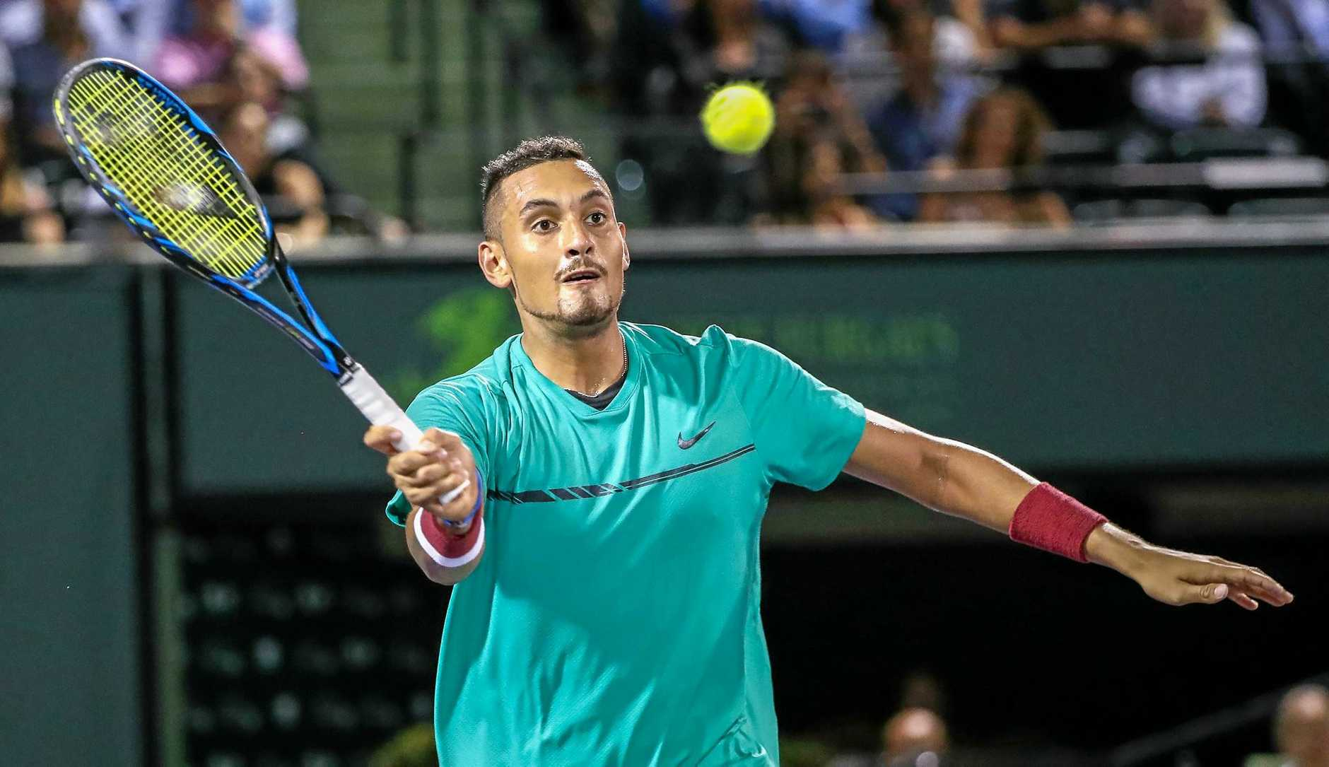 Nick Kyrgios of Australia in action against Roger Federer of Switzerland at the Miami Open.