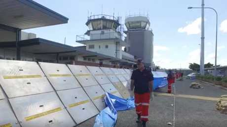 FLOOD BARRICADE: Flood barricades are being set up at Rockhampton's airport.
